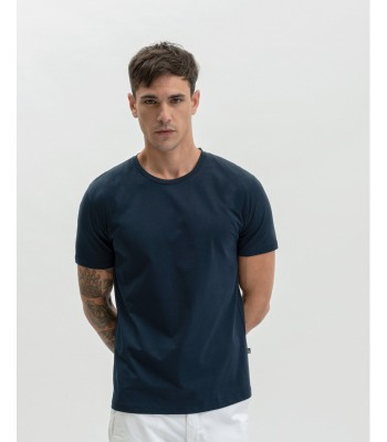 T-shirt basica blu a girocollo
