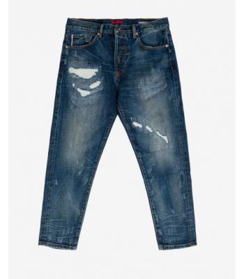 Jeans cropped modello 5 tasche usurato